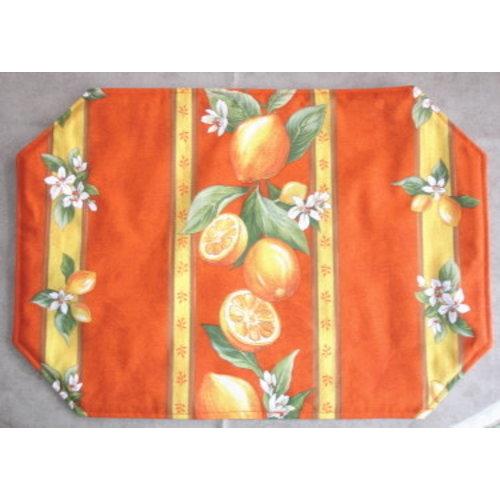 L'Art de Vivre Inc. PLACEMAT Orange Blossom . 100% Cotton