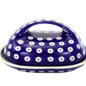 K and U Import Butter dish with handle POLKA DOT Polish Pottery
