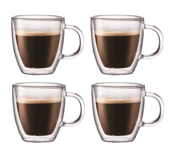 Espresso cup with handle SET OF 4 Double Wall ITALIAN
