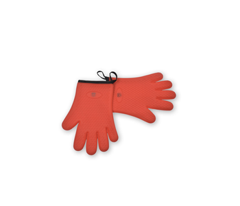 Oven Mitt Set Red SILICONE HEART PATTERN
