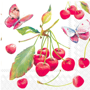 Carsim Napkin Cocktail Paper CHERRIES & BUTTERFLY