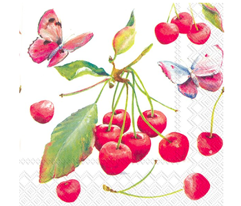 Napkin Lunch Paper CHERRIES & BUTTERFLY