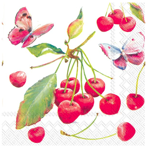 Carsim Napkin Lunch Paper CHERRIES & BUTTERFLY