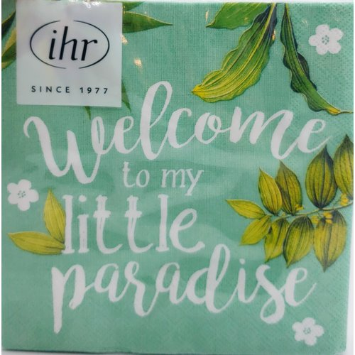 Carsim Napkin Cocktail Paper WELCOME TO PARADISE