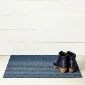 Chilewich Doormat Breton Stripe Shag BLUEBERRY 18 x 28 inches
