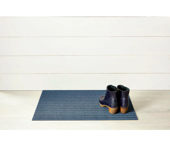 Doormat Breton Stripe Shag BLUEBERRY 18 x 28 inches