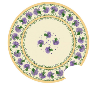 TABLECLOTH 68 ins. ROUND Cream Lavender Made in France COATED