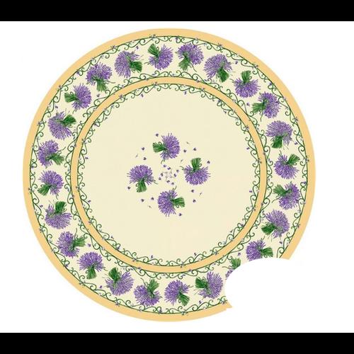 L'Art de Vivre Inc. TABLECLOTH 68 ins. ROUND Cream Lavender Made in France COATED