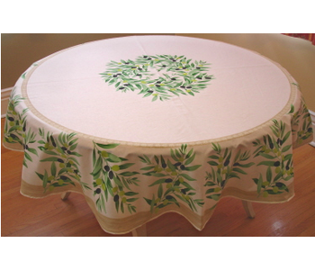 TABLECLOTH 68 ins. ROUND Cream Olive Provencal Made in France COATED