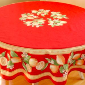 L'Art de Vivre Inc. TABLECLOTH 68 ins. ROUND Red Lemon Blossom  COATED