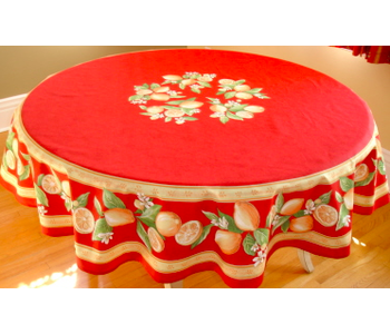 TABLECLOTH 68 ins. ROUND Red Lemon Blossom  COATED