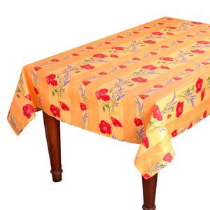 L'Art de Vivre Inc. TABLECLOTH RECTANGULAR  60x86 ins. Yellow Poppies COATED