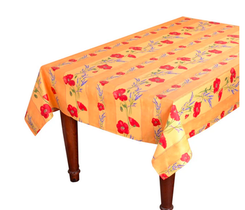 TABLECLOTH RECTANGULAR  60x86 ins. Yellow Poppies COATED