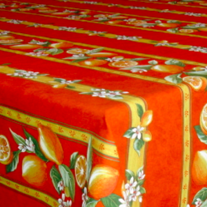 L'Art de Vivre Inc. TABLECLOTH RECTANGULAR  60x86 ins. Orange Lemon Blossom COATED
