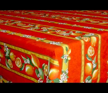 TABLECLOTH RECTANGULAR  60x86 ins. Orange Lemon Blossom COATED