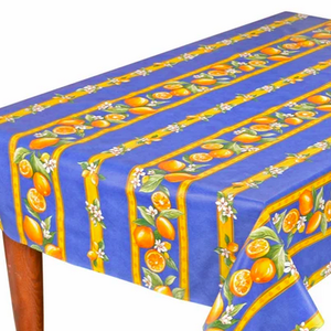 L'Art de Vivre Inc. TABLECLOTH RECTANGULAR  60x86 ins. Blue Lemon COATED