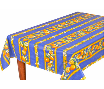 TABLECLOTH RECTANGULAR  60x86 ins. Blue Lemon COATED
