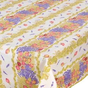 L'Art de Vivre Inc. TABLECLOTH RECTANGULAR  60x86 ins. Roses & Lavender COATED