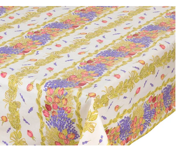 TABLECLOTH RECTANGULAR  60x86 ins. Roses & Lavender COATED