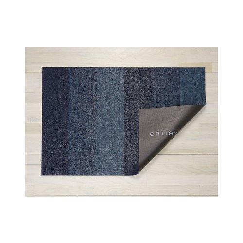 Chilewich Utility Mat Marbled Stripe Shag BAY BLUE 24x36 inches