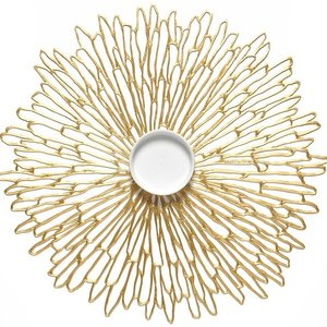 Placemat Bloom Round Gilded Gold