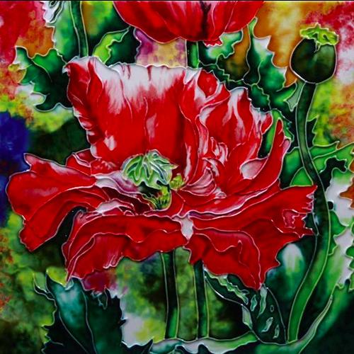 "Benaya Handcrafted Art Decor TILE - Red Poppies 12"" x 12"""