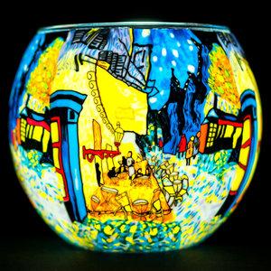 "Benaya Handcrafted Art Decor LIGHT GLASS Cafe By Night 3.5"" x 4"""
