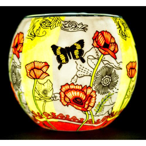 "Benaya Handcrafted Art Decor LIGHT GLASS Poppy Butterfly 3.5"" x 4"""