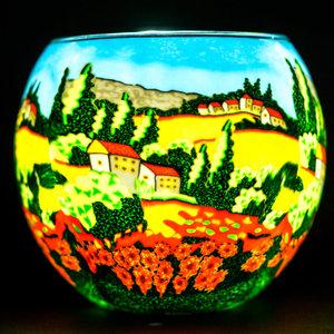 "Benaya Handcrafted Art Decor LIGHT GLASS Poppy Fields 3.5"" x 4"""