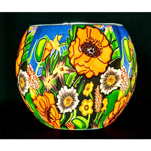"Benaya Handcrafted Art Decor LIGHT GLASS Poppy Garden 3.5"" x 4"""