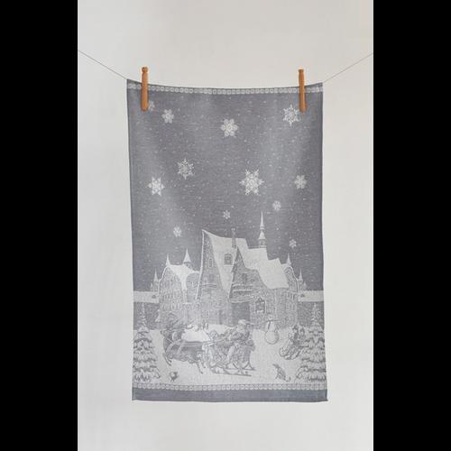 Linenway Tea Towel Winter Village Grey