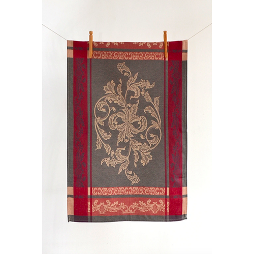 Linenway Tea Towel Versailles Bordered Red/Charcoal