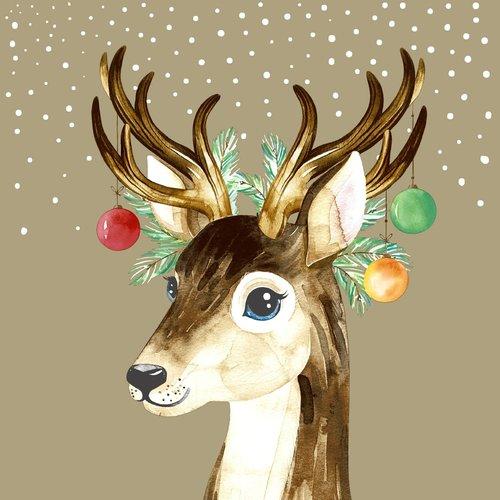 OCD Napkin Lunch Paper Deer Baubles