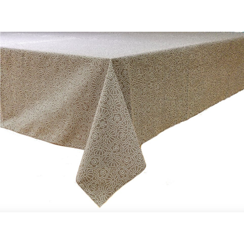Epicure Linen Tablecloth Grey Confetti Floral 118 inches round