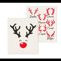 Swedish Cloth  Rudolph & Names/ Set of 2