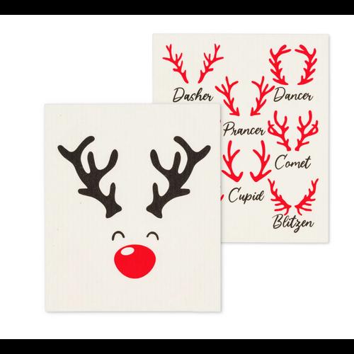 Abbott Swedish Cloth  Rudolph & Names/ Set of 2
