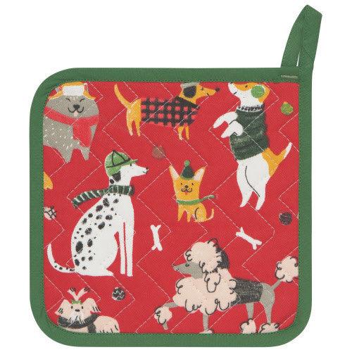 Danica Pot Holder Patterned Set/2 Yule Dogs