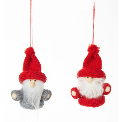 Option2 Mini Santa Ornament w/Knit Hat 2.75 ins.