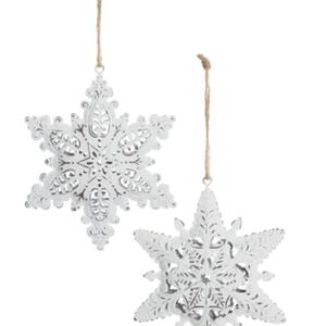 Option2 Antique White Finish Metal Snowflake Ornament 5 ins.