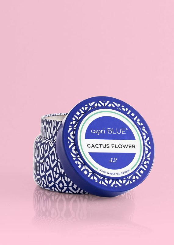 CAPRI BLUE CACTUS FLOWER PRINTED TRAVEL TIN CANDLE