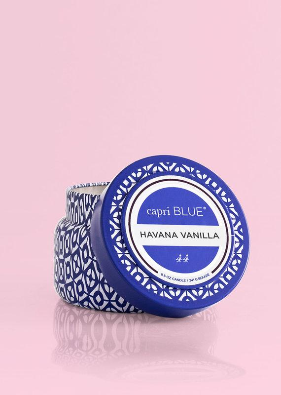 CAPRI BLUE HAVANA VANILLA PRINTED TRAVEL TIN CANDLE