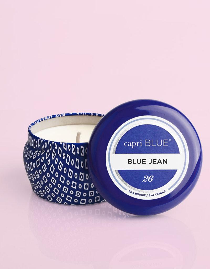 CAPRI BLUE BLUE JEAN PRINTED MINI TIN CANDLE