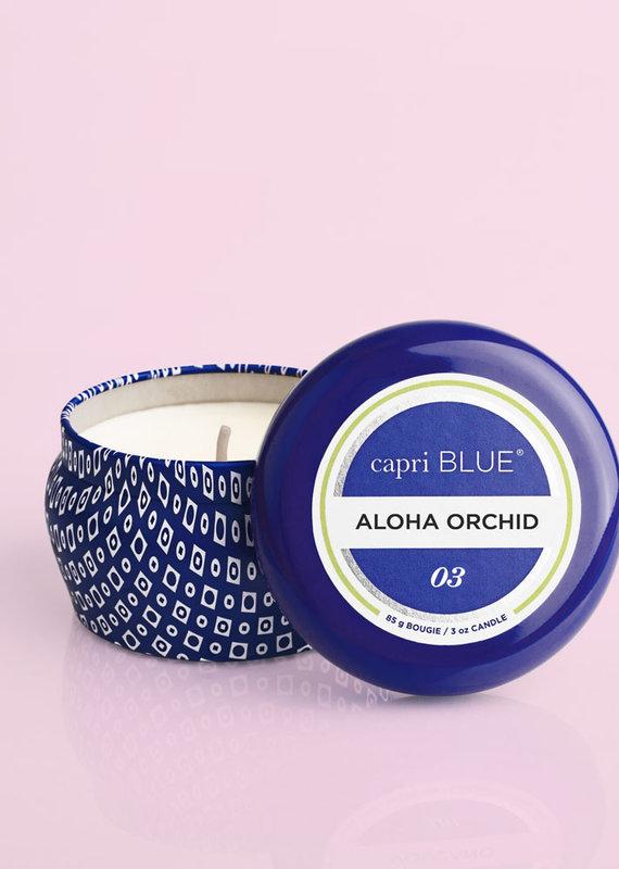 CAPRI BLUE ALOHA ORCHID PRINTED MINI TIN CANDLE