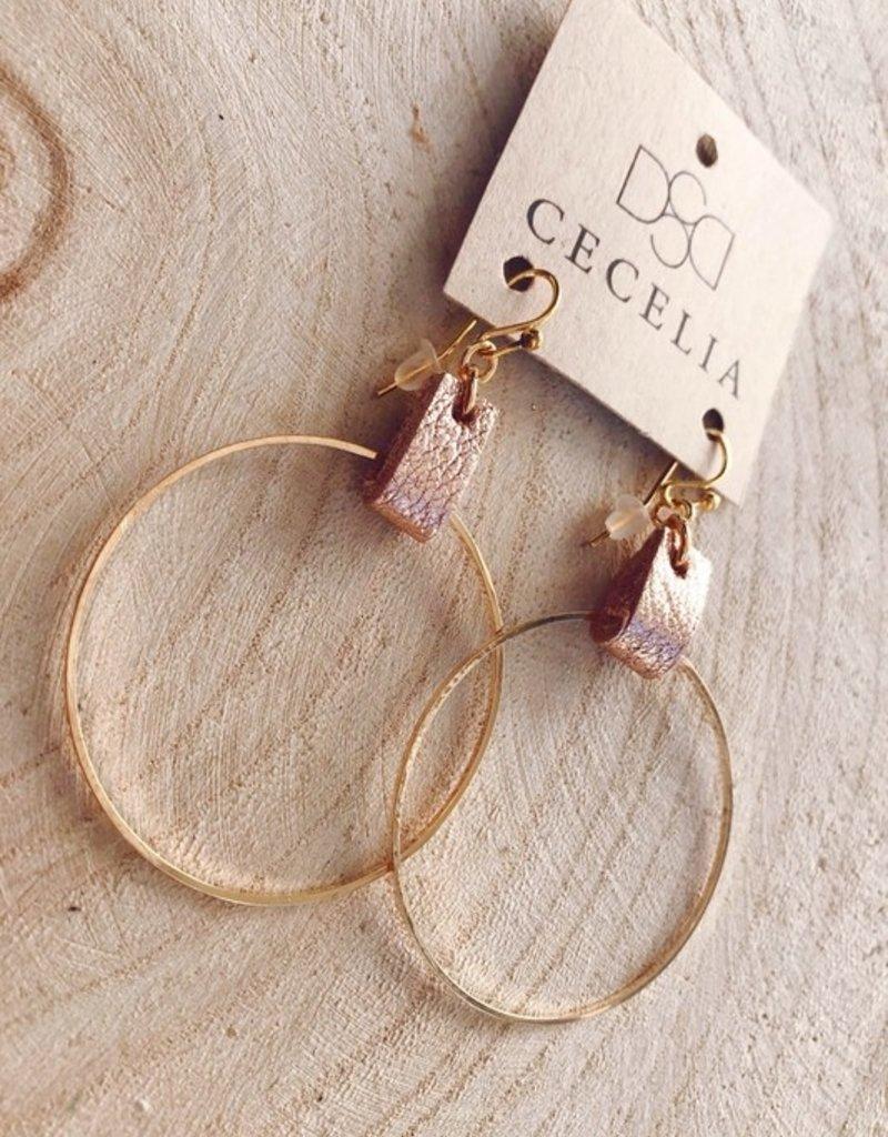 CECELIA LEATHER HOOP EARRINGS - ROSE GOLD