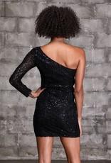 LOVESTITCH OFF THE SHOULDER SEQUIN DRESS - BLACK