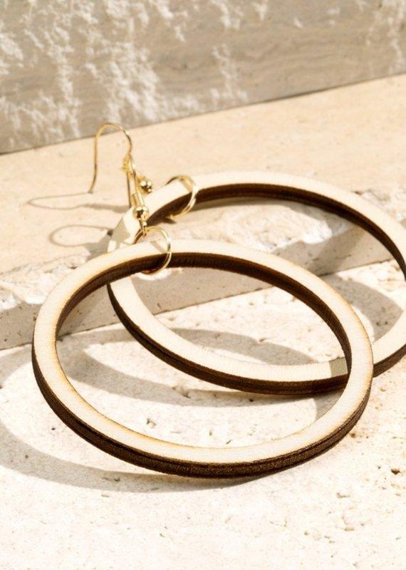 URBANISTA WOOD RING EARRINGS  IVORY