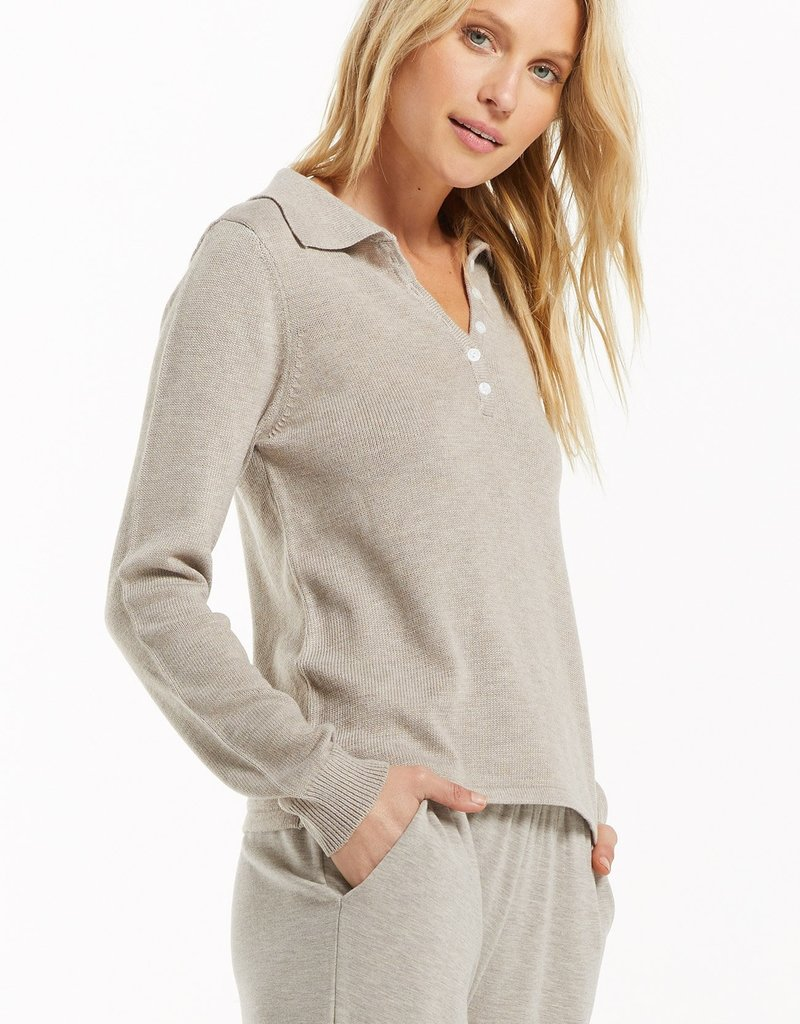 Z SUPPLY WFH POLO LS TOP - LATTE