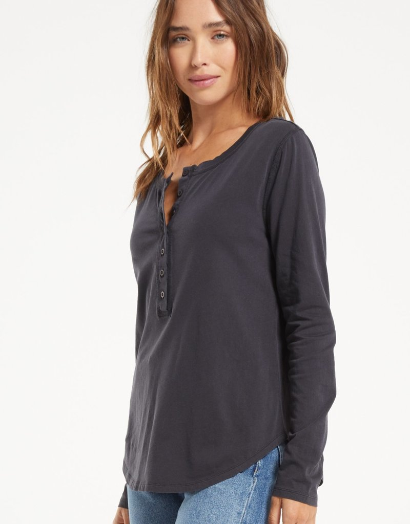 Z SUPPLY ANDREN ORGANIC LONG SLEEVE TEE - WASHED BLACK