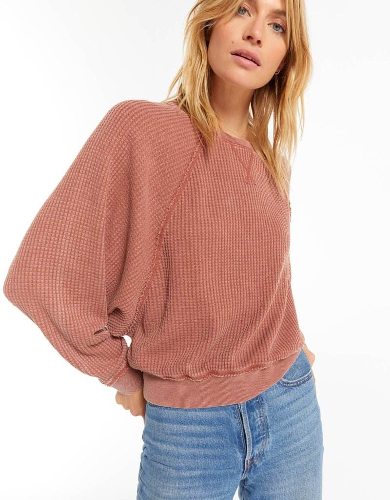 Z SUPPLY CLAIR WAFFLE LONG SLEEVE - RUSSET