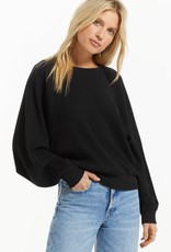 Z SUPPLY CLAIRE WAFFLE LONG SLEEVE - BLACK